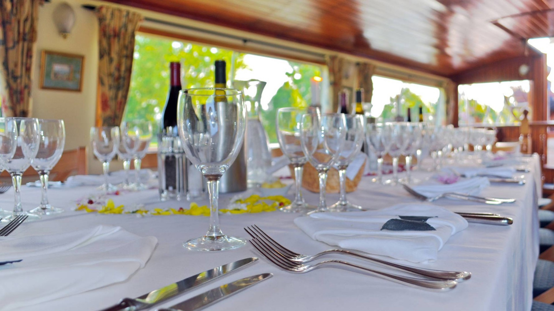 dining table on luxury barge