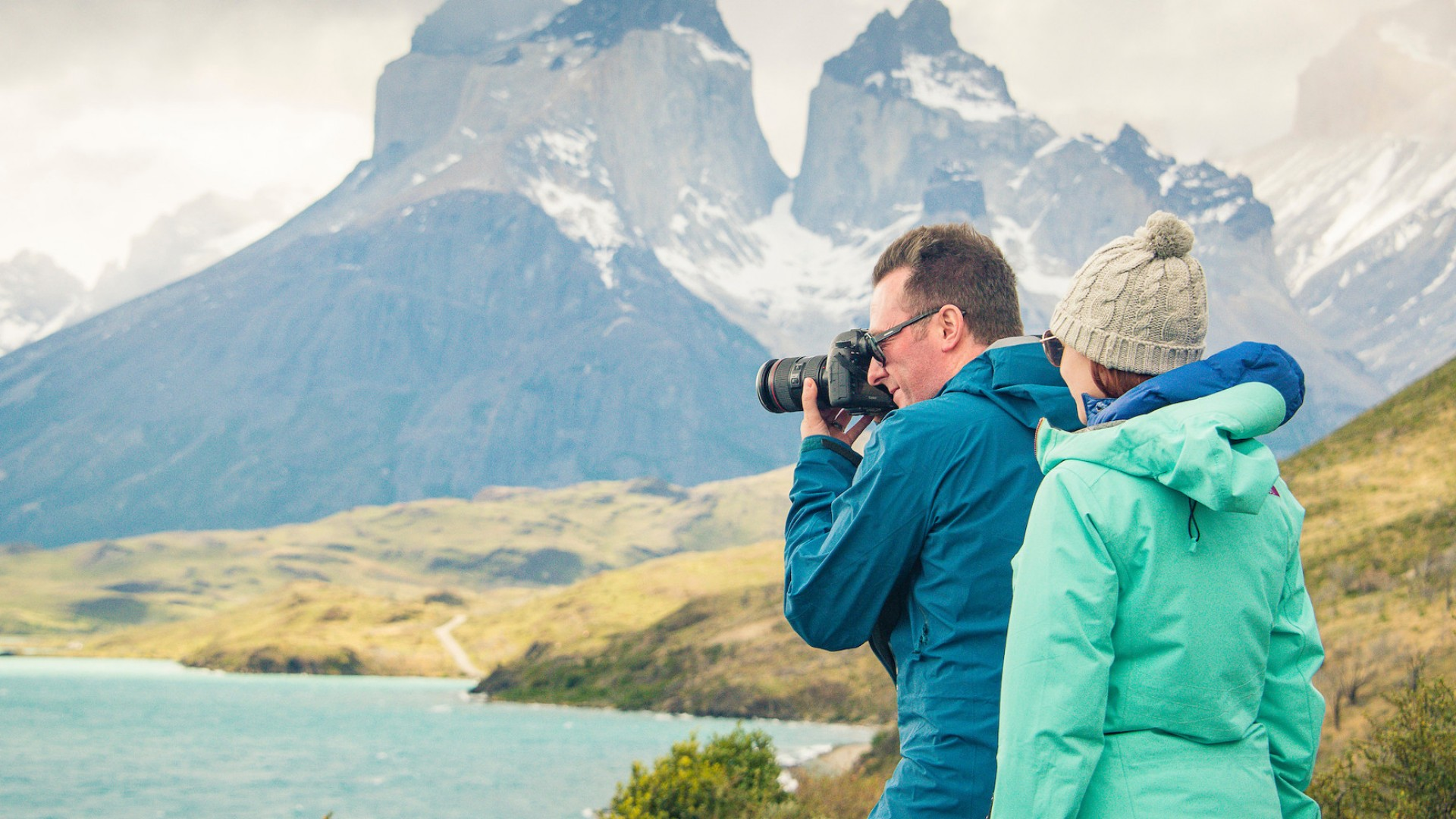 travelers taking photos in Patagonia