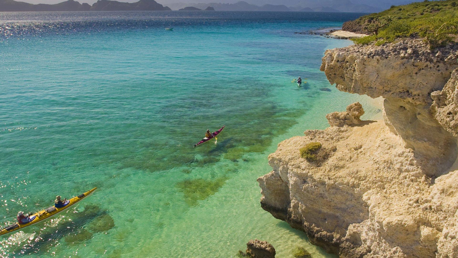 turquoise water along coastline in Baja