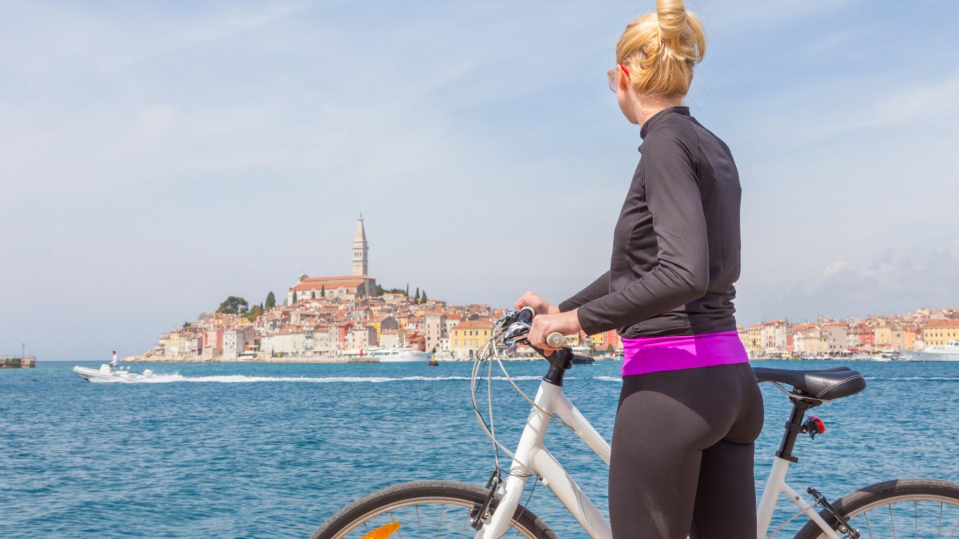 woman and bike in croatia