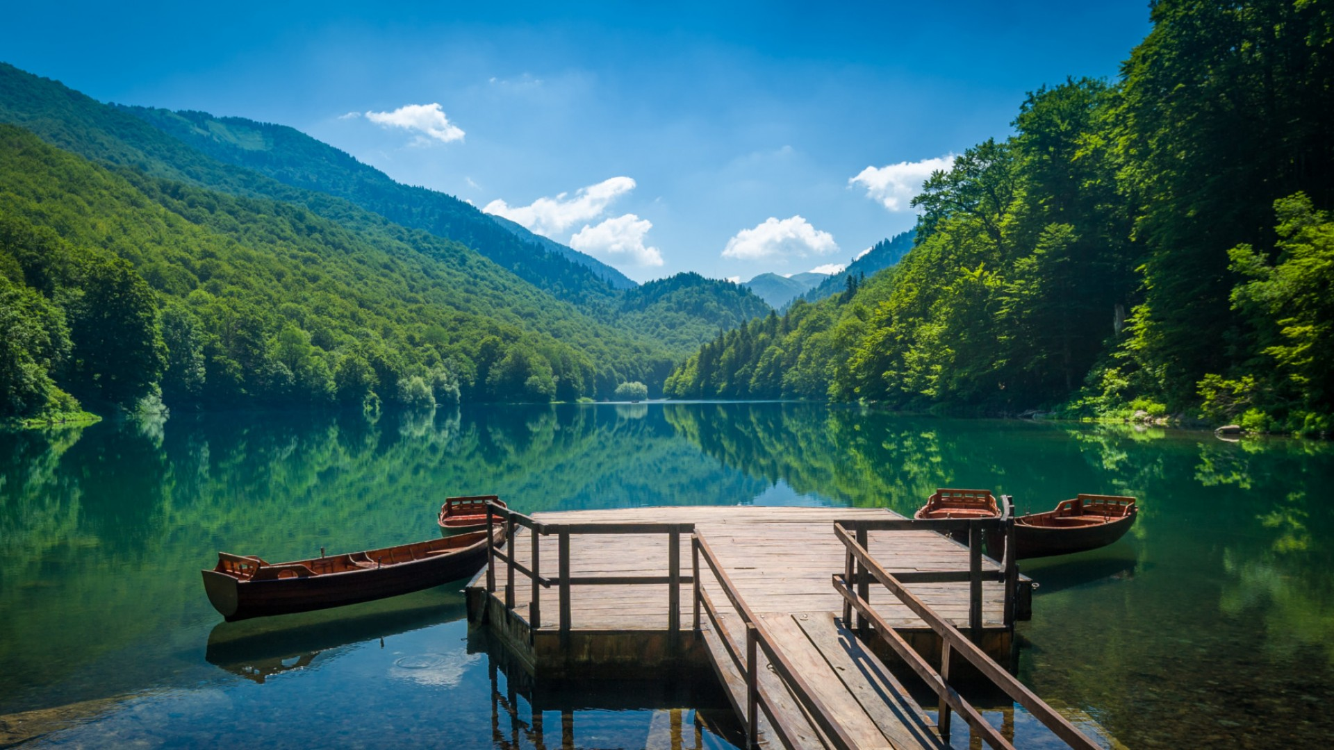 dock on a lake in albania national park