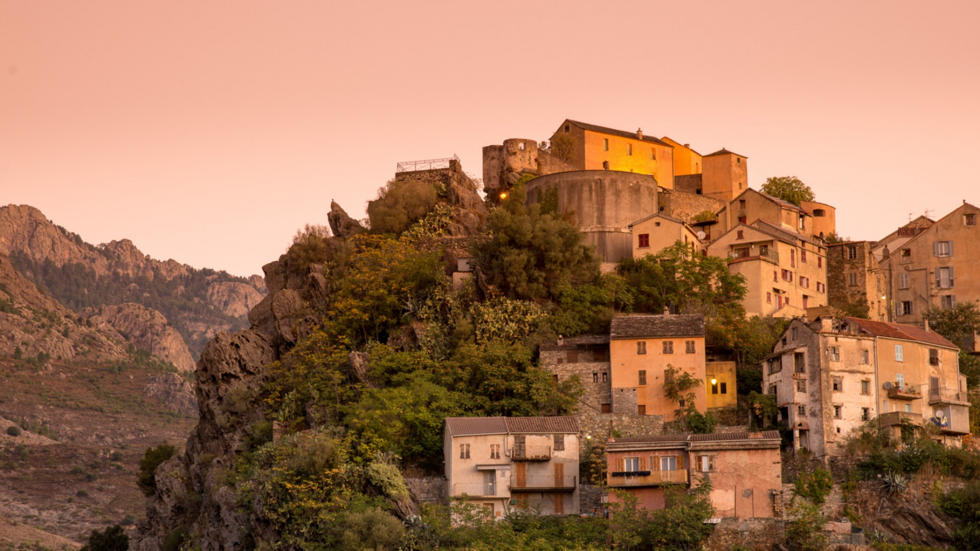 houses on a hill in Corsica, France