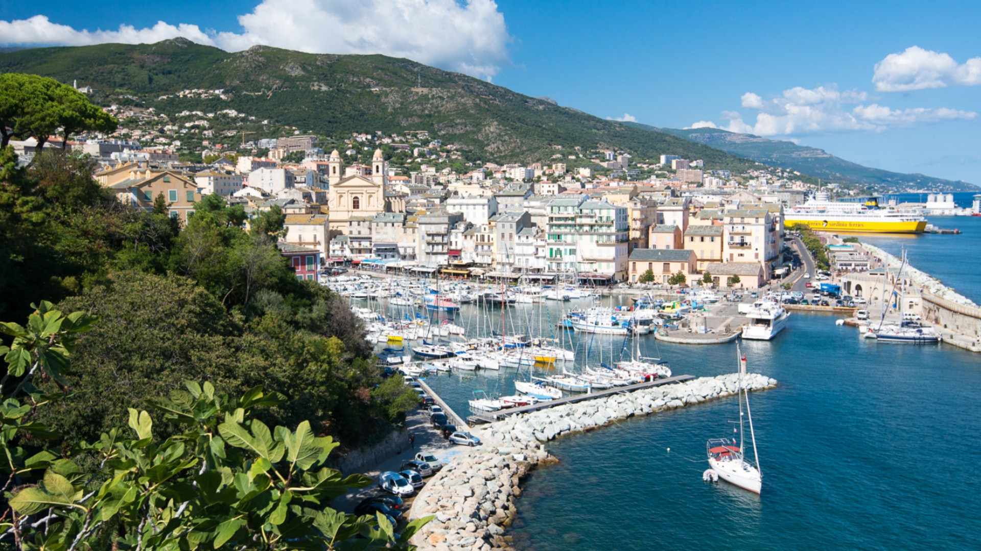 coastline of Corsica with buildings and water