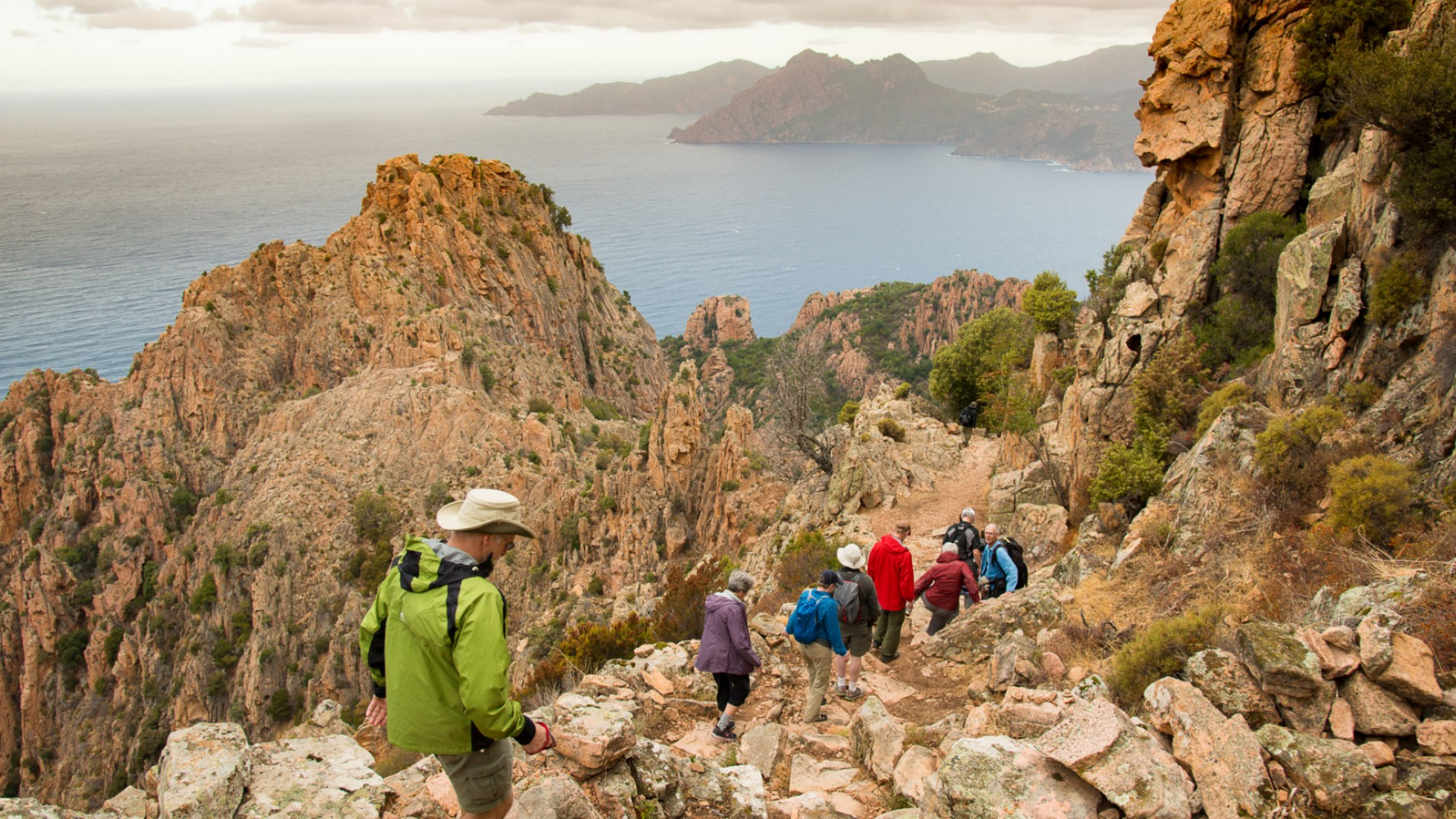 people hiking in corsica france