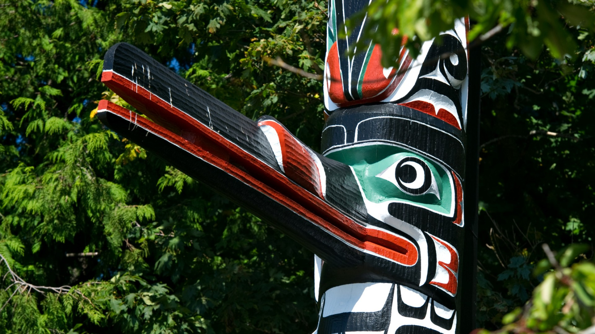 first nations totem pole in british columbia, canada