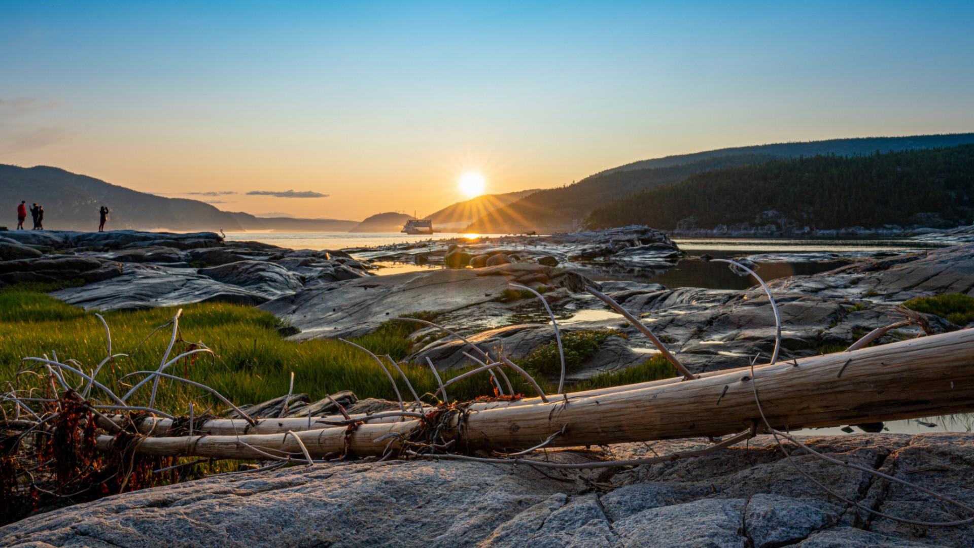 sunset on fjord in quebec