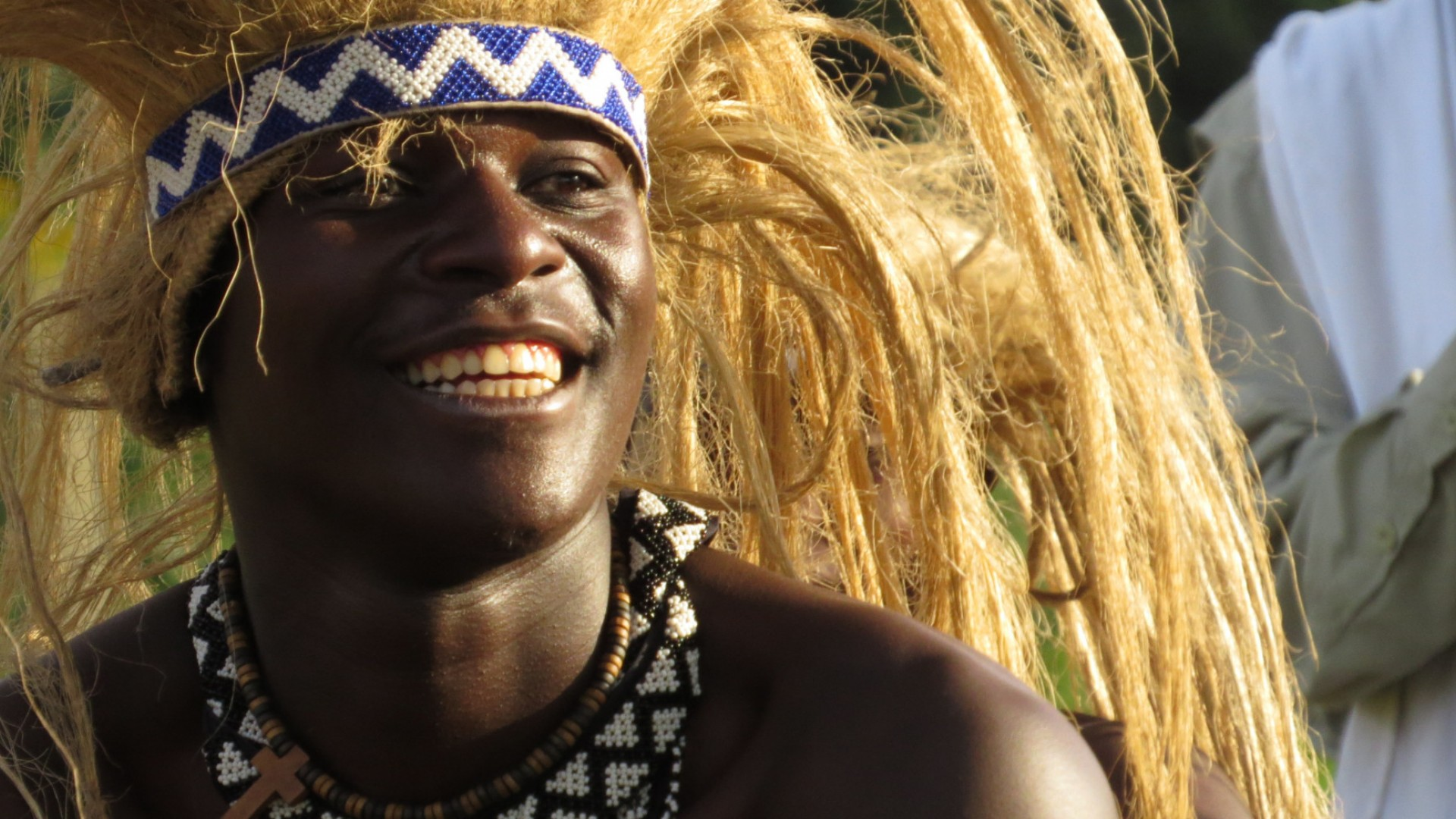 man in traditional headdress in Rwanda