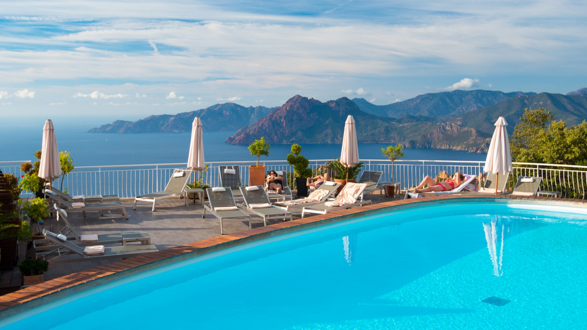 luxury hotel pool in Corsica France