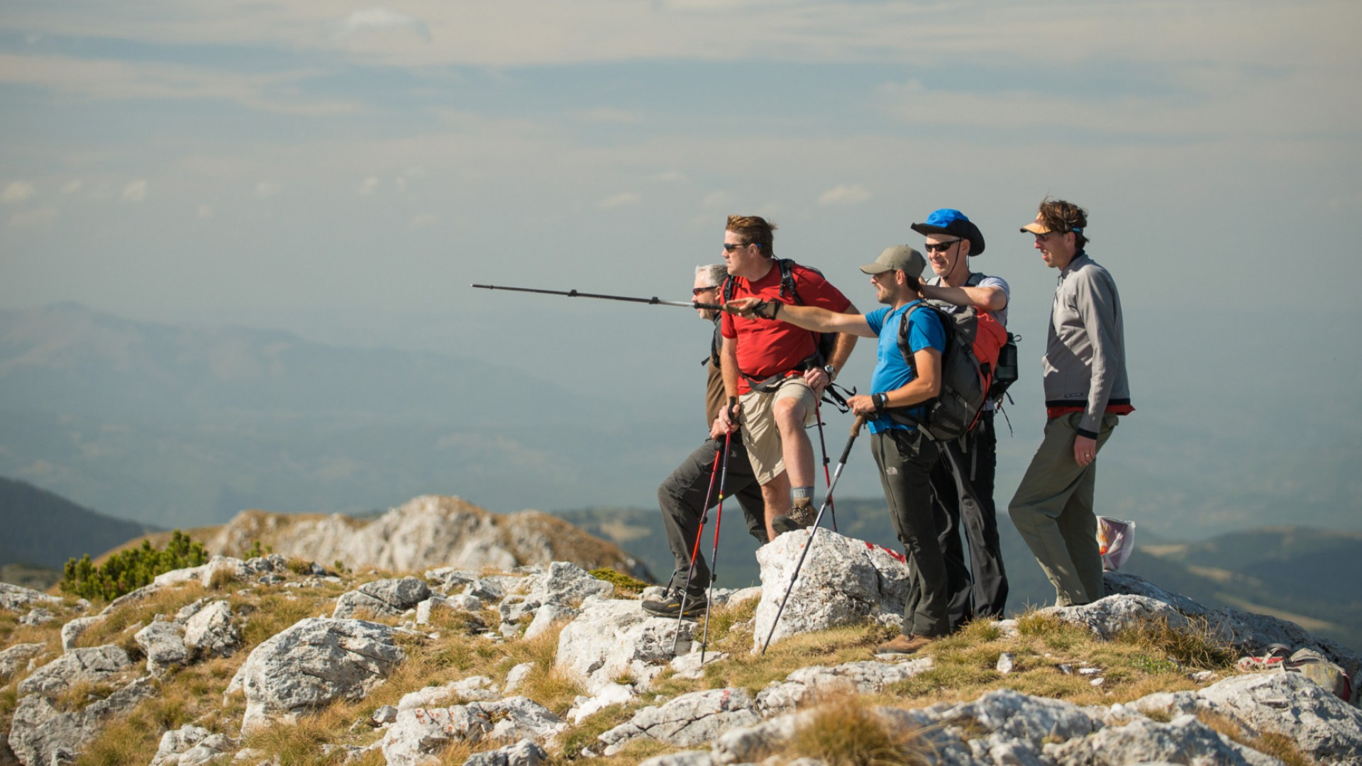 hikers in the albanian alps