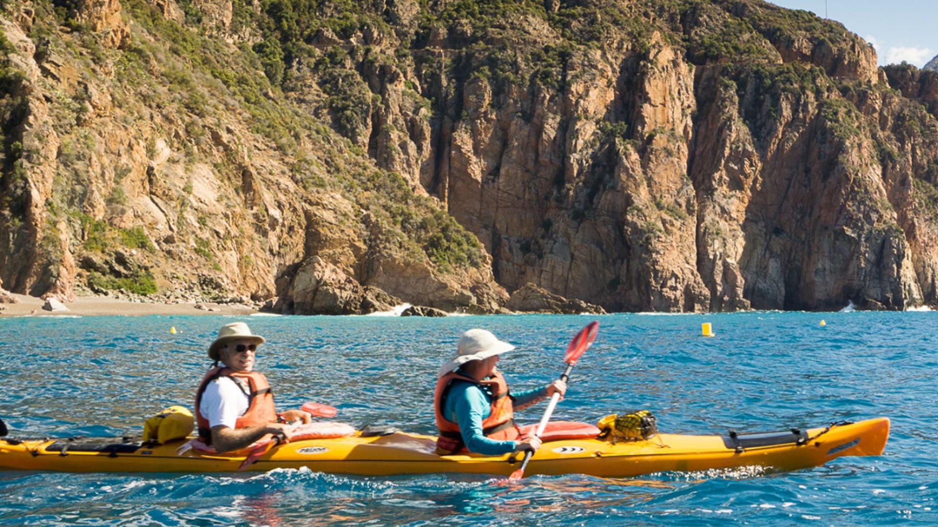 sea kayaks in Ocean near Corsica