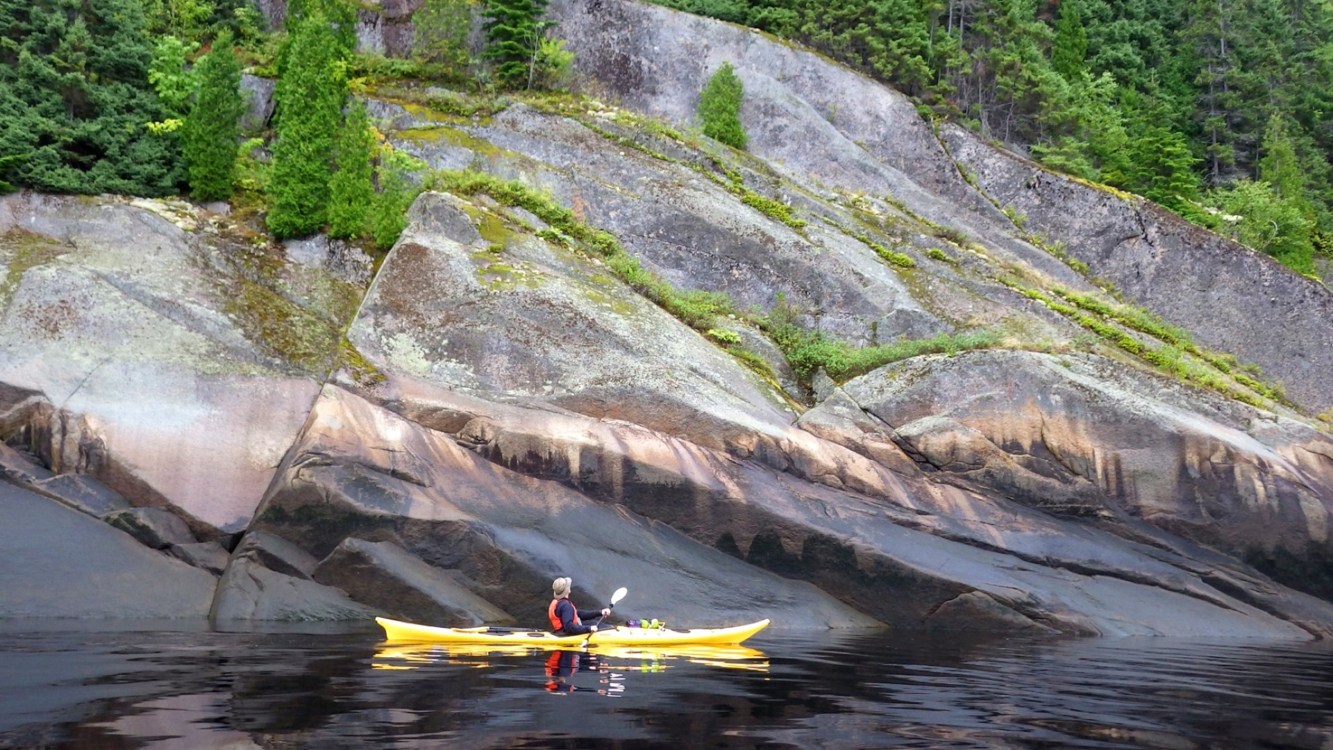 sea kayakers in Quebec, Canada